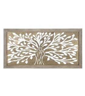 Albero della Vita Pannello decorativo Metallo Dorato Legno 100X2,5X49,5