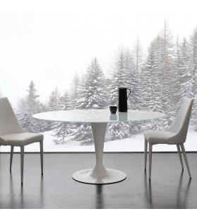 Tavolo Piano Vetro Temperato Bianco Diam.130cm