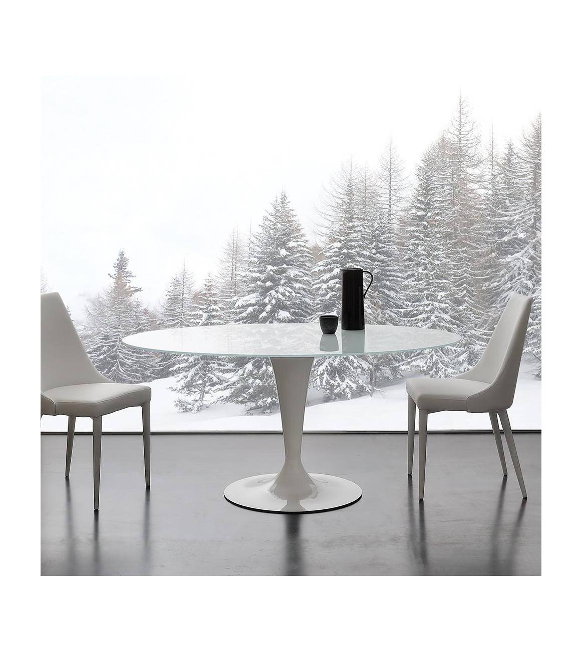 Tavolo tondo piano vetro temperato bianco - Piano tavolo vetro ...