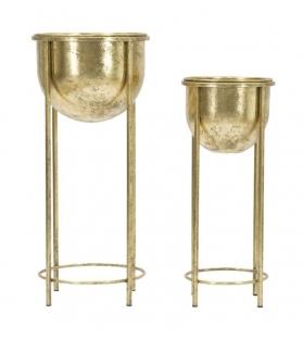 Porta Fiori set 2pz metallo dorato