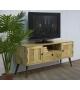 Porta Tv Legno 3 Cassetti Gambe Metallo 130x38x57