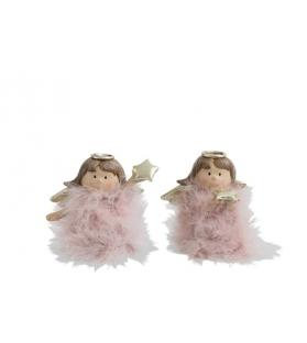 Angelo con piume rosa e stella h15 cm - 2 modelli assortiti