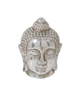 Statua Testa Buddha ceramica argento 18x18x27.5cm