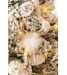 Palla Di Natale Vetro Renna con Piume e Led