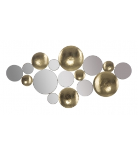 Pannello Decorativo Parete Cerchi Oro e Specchio 118X2,5X60