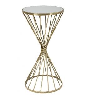 Tavolino Alto Hypnos Metallo dorato Piano specchio Ø 35X70 cm