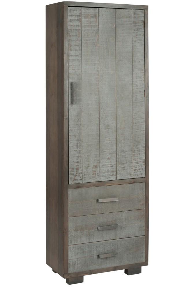 Armadio 1 sportello 3 cassetti legno grigio naturale