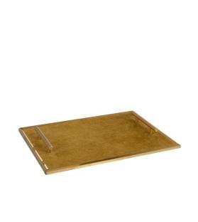 Vassoio Velluto Ocra Metallo Oro con manici 40x30 cm