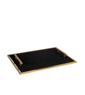 Vassoio Velluto Nero Metallo Oro con manici 40x30 cm