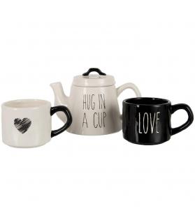 Set Hug in a Cup teiera e 2 tazze bianco e nero