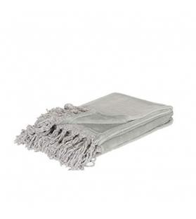 Plaid in pile grigio con frange 170x130 cm