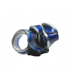 Anello in resina morbida Clear Blue/Silver