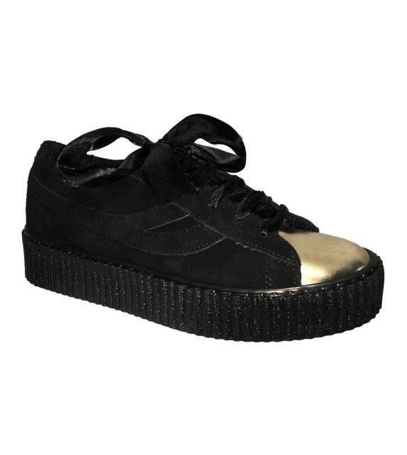 Sneakers donna con lacci raso nero oro