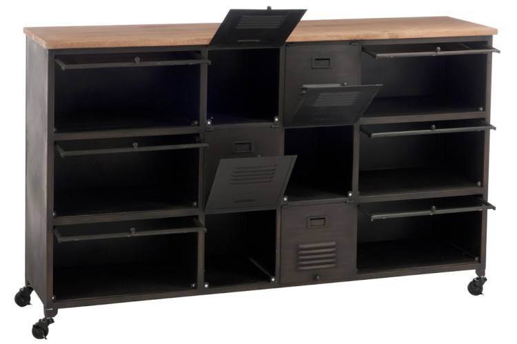 Credenza Con Rotelle : Credenza servant industrial ferro e legno cassetti rotelle