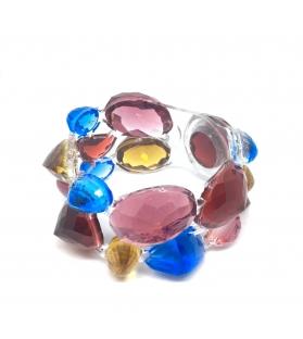 Bracciale Pietre doppio in resina Corsari Rosa Blu Giallo