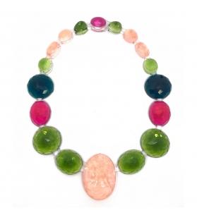 Collana Cameo in resina Corsari Verde Rosa Fucsia