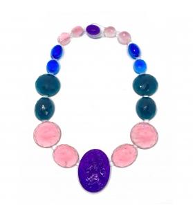 Collana Cameo in resina Corsari Rosa Blu Viola