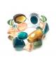 Bracciale Pietre Doppio in resina Corsari Verde Giallo Arancione