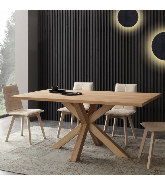 Tavolo in Frassino Massello Cartesio 180 x 100 cm