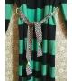 Cardigan Lungo Stripes con cintura Verde Nero