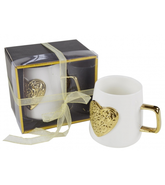 Tazza Mug Gold Heart con scatola