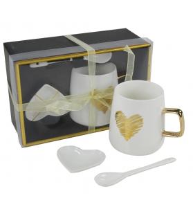 Tazza Mug Cuore Gold con cucchiaino