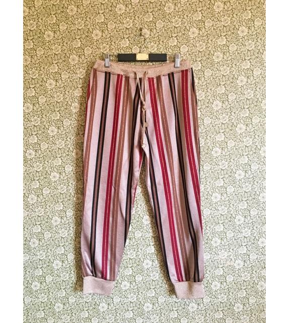 Pantalone Lurex Righe Bronzo