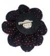Spilla Rosa Tessuto rosso nero Ø 15cm