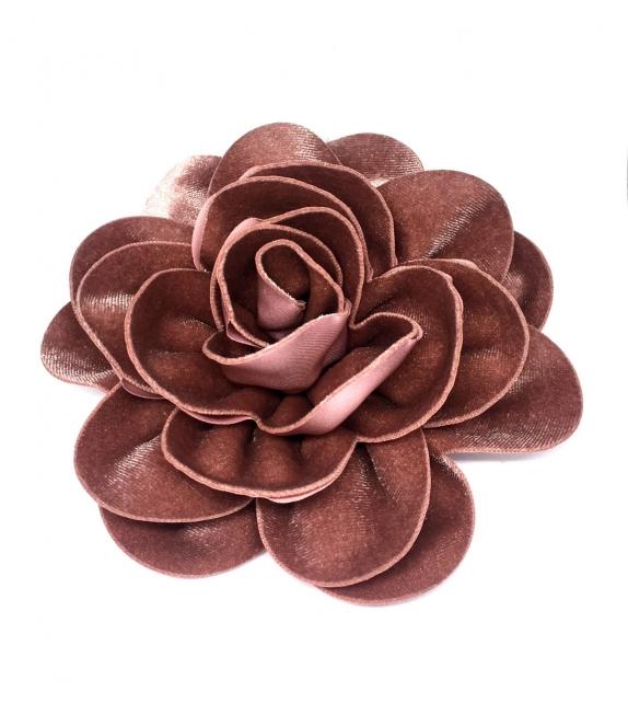 Spilla Fiore Rosa Antico Tessuto Velluto Ø 15cm