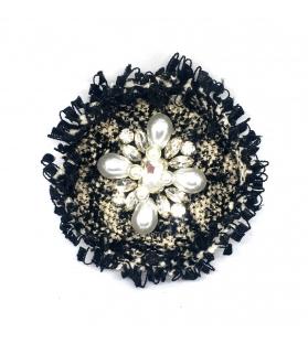 Spilla Tonda Chanel con perle Ø 6,5 cm