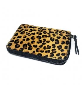Portafogli Leopard in cavallino con zip Vera pelle 15,5x2,5x10,5