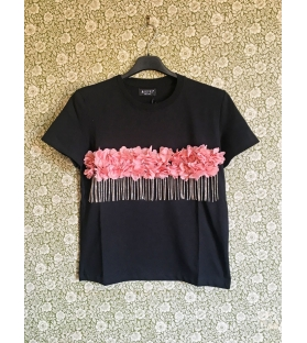 T-shirt Fiori e Frange Swarovski