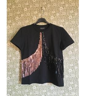 T-shirt Doppia Frangia Paillettes