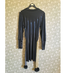 Vestito Nero Lucido con cintura pon pon