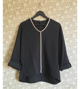 Maglia casacca nera con pietre