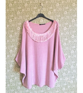Maglia larga rosa con frange