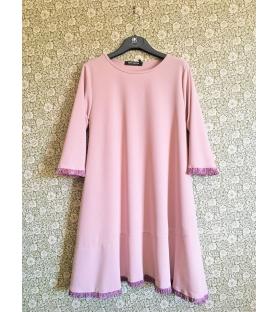 Vestito rosa con frange lurex