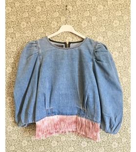 Casacca Jeans con maniche a sbutto pink