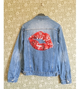 Giacca Denim Jeans Red Lips