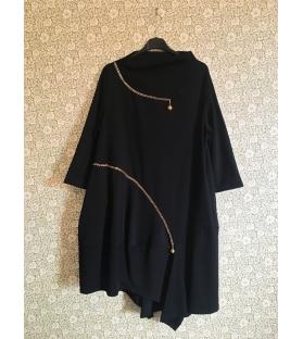 Vestito lungo catene oro nero