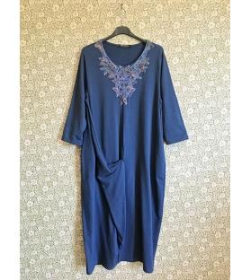 Vestito lungo ricamo petto blu