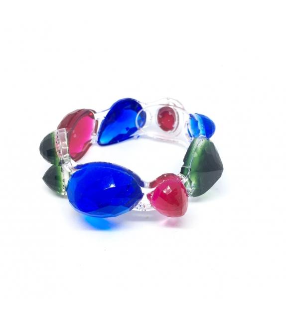 Bracciale Pietre singolo in resina Corsari Azzurro Verde Fucsia