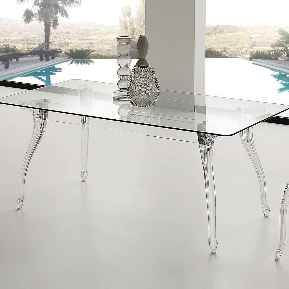 Tavolo queen piano vetro temperato 180x90cm for Tavolo vetro temperato