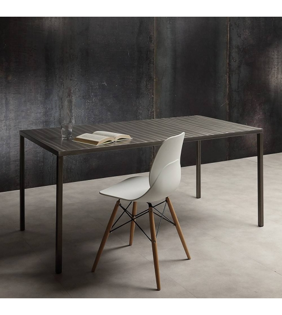 Tavolo Acciaio Verniciato Trasparente 120 x 80 cm
