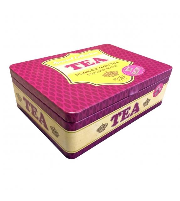 Scatola Porta bustine di Tè e Tisane metallo fucsia