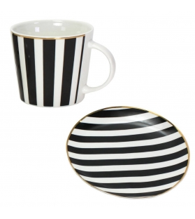 SET TAZZA + PIATTINO FAVOURITE BANDS BORDO ORO BIANCO NERO