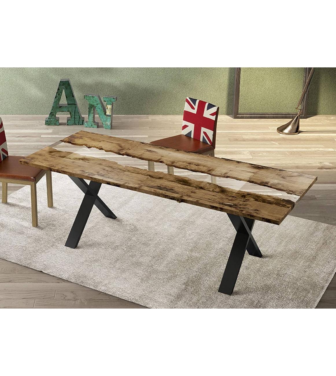 Tavolo Legno E Resina Prezzo tavolo in legno e resina con basamento in metallo bekreative