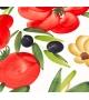 Piatto Piano Ceramica Pomodori Aglio e Olive